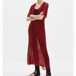 Red animal print dress coverup